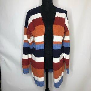 Woman's color block sweater cardigan